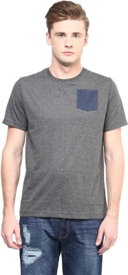 Aventura Outfitters Solid Men,s Round Neck Grey T-Shirt