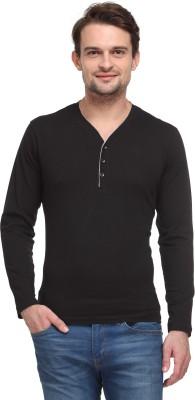 Flippd Solid Men's Henley Black T-Shirt