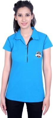 Duke Stardust Casual Short Sleeve Solid Women's Blue Top