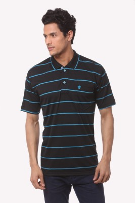 Saadgi Striped Men's Polo Neck Black T-Shirt