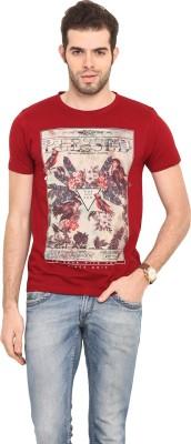 Mode Vetements Printed Men's Round Neck Maroon T-Shirt