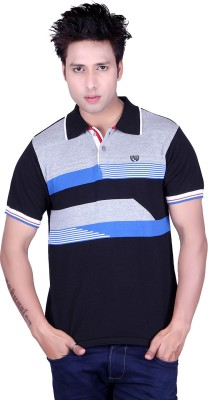 Dezyn Striped Men's Polo Neck Black, Blue, White T-Shirt