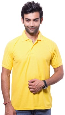 Zuvic Solid Men's Polo Neck Yellow T-Shirt
