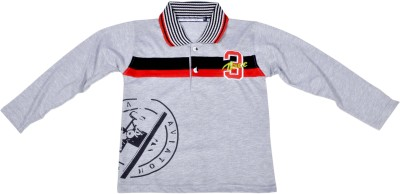 Hey Baby Printed Boy's Polo Neck Grey T-Shirt