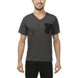 Ashdan Solid Men's V-neck Black T-Shirt