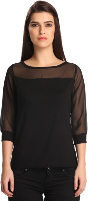 Bombay High Solid Women,s Round Neck Black T-Shirt