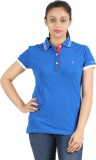 Astrix Solid Women's Polo Neck Blue T-Sh...
