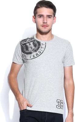 Harvard Printed Men's Round Neck Grey T-Shirt