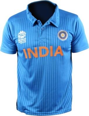 Gaames Graphic Print Men's Polo Neck Blue T-Shirt