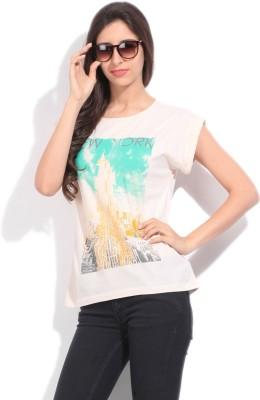 Arrow Printed Women's Round Neck Beige T-Shirt