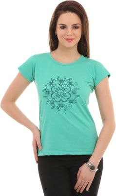 LovinoForm Printed Womens Round Neck Green T-Shirt