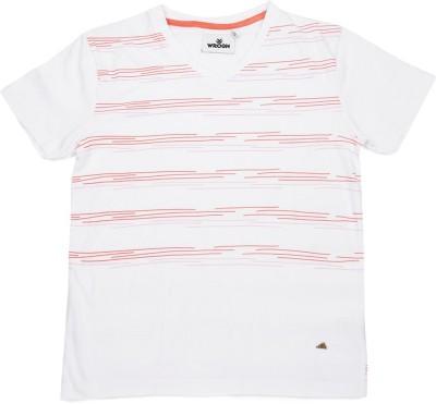 WROGN Printed Boy's V-neck White T-Shirt