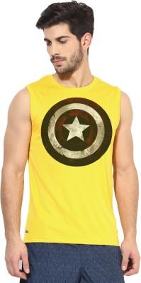Alpha Scott Solid Men's Round Neck Yellow T-Shirt
