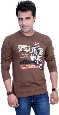 Filimore Graphic Print Men's Round Neck Brown T-Shirt