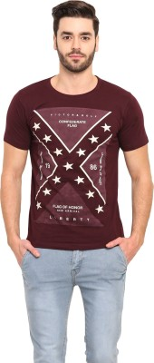 Mode Vetements Printed Men's Mandarin Collar Purple T-Shirt
