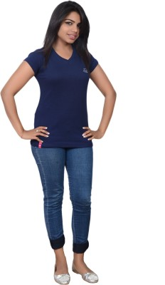 Point Fit Solid Women's V-neck T-Shirt