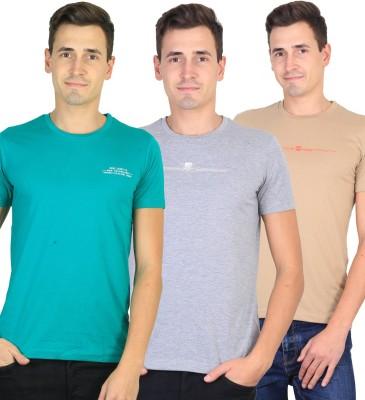 Duke Solid Men's Round Neck Blue, Grey, Beige T-Shirt