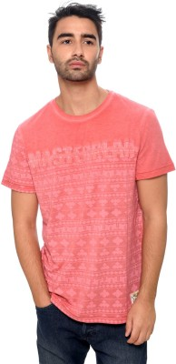 Be Pure Printed Men's Round Neck Pink T-Shirt