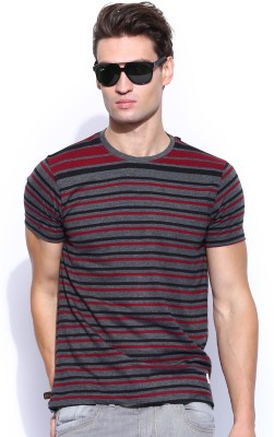 Roadster Striped Men's Round Neck Grey T-Shirt