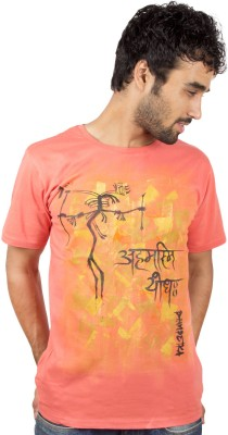Pulpypapaya Printed Men's Round Neck Orange T-Shirt