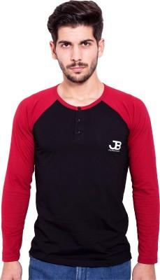 Jangoboy Solid Men's Round Neck Black, Maroon T-Shirt