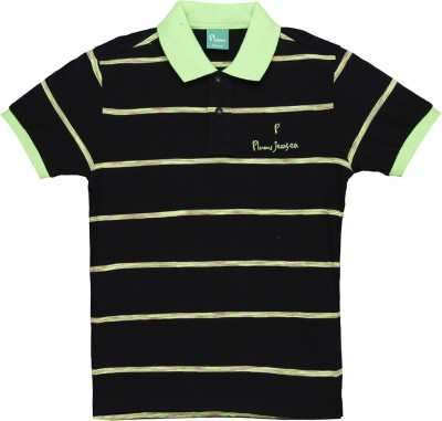 Plums Striped Boy's Polo Neck Black T-Shirt
