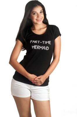 VogueCentric Graphic Print Women's Round Neck Black T-Shirt
