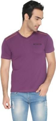 Again Vintage Solid Men's Round Neck Purple T-Shirt