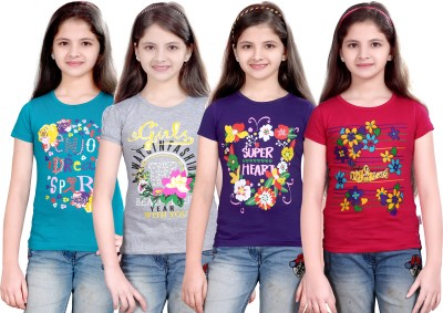 Sini Mini Printed Girl's Round Neck Blue, Silver, Purple, Pink T-Shirt