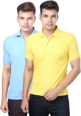 eSOUL Solid Men's Polo Neck Light Blue, Yellow T-Shirt