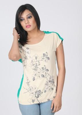 Elle Printed Women's Round Neck Green, Beige T-Shirt
