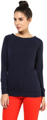 T-shirt Company Solid Women's Boat Neck Dark Blue T-Shirt
