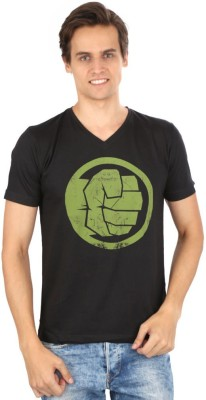 Planet Superheroes Graphic Print Men's V-neck Black T-Shirt