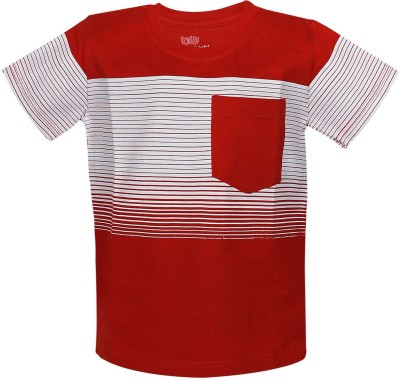 Bells and Whistles Striped Boy's Round Neck Red T-Shirt