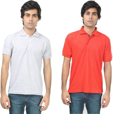 Stylish Trotters Solid Men's Polo Grey, Red T-Shirt