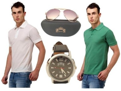 Tele Queen Solid Men's Polo Neck Light Green, White T-Shirt