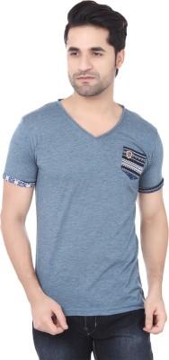 Buff Solid Men's V-neck Blue, Black T-Shirt