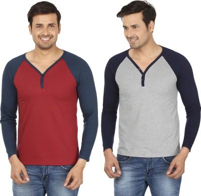 Jangoboy Solid Men,s V-neck Maroon, Grey T-Shirt