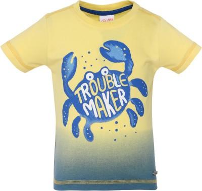 FS Mini Klub Printed Boy's Round Neck Yellow T-Shirt
