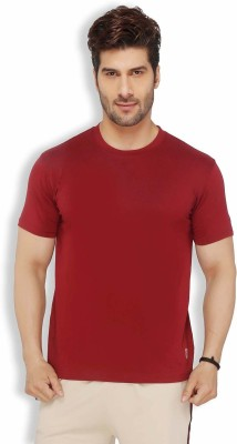 Live In Solid Men's Round Neck Red T-Shirt