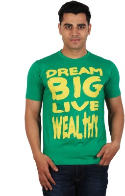 Tymstyle Printed Men,s Round Neck Green, Yellow T-Shirt