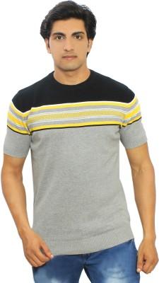 Thread Craft Striped Men's Round Neck Grey T-Shirt
