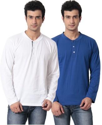 Leana Solid Men,s Henley Multicolor T-Shirt