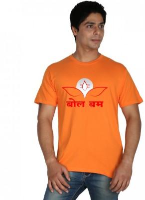 Trendster Printed Men's Round Neck Orange T-Shirt