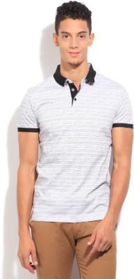 Arrow Newyork Striped Men's Polo White, Black, Grey T-Shirt