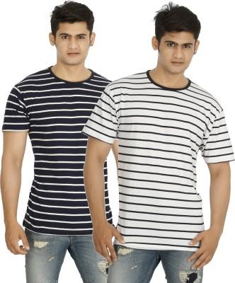 five on five Striped Men's Round Neck Multicolor T-Shirt