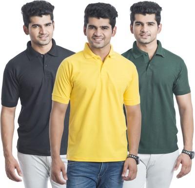 Bainsons Solid Men,s Polo Black, Green, Yellow T-Shirt