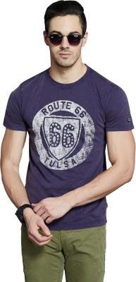 Route 66 Printed Men's Round Neck Dark Blue T-Shirt