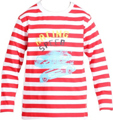 Trmpi Striped Boy's Round Neck Red T-Shirt