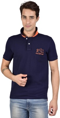 Royal Sport League Solid Men's Polo Neck Dark Blue T-Shirt